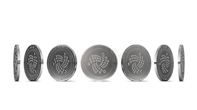 从七个角度显示的银色IOTA硬币隔绝在白色背景 容易删去和使用特殊硬币角度 皇族释放例证
