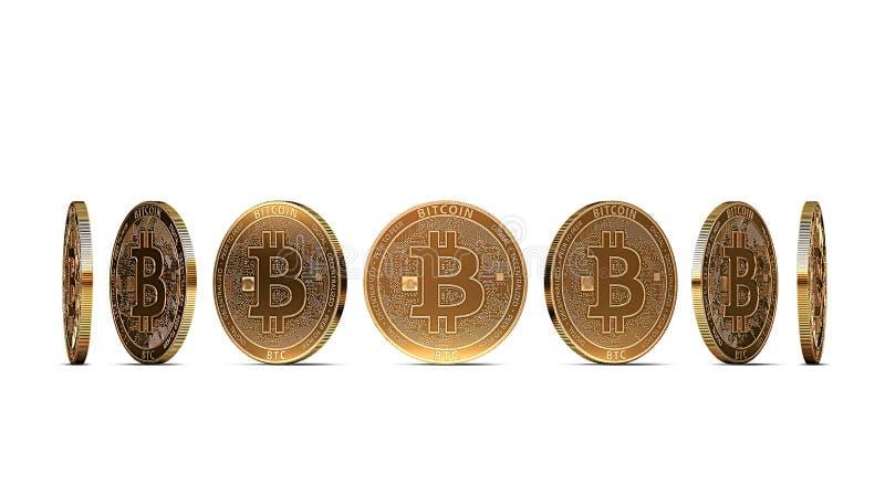 从七个角度显示的Bitcoin隔绝在白色背景 容易删去和使用特殊硬币角度 库存例证