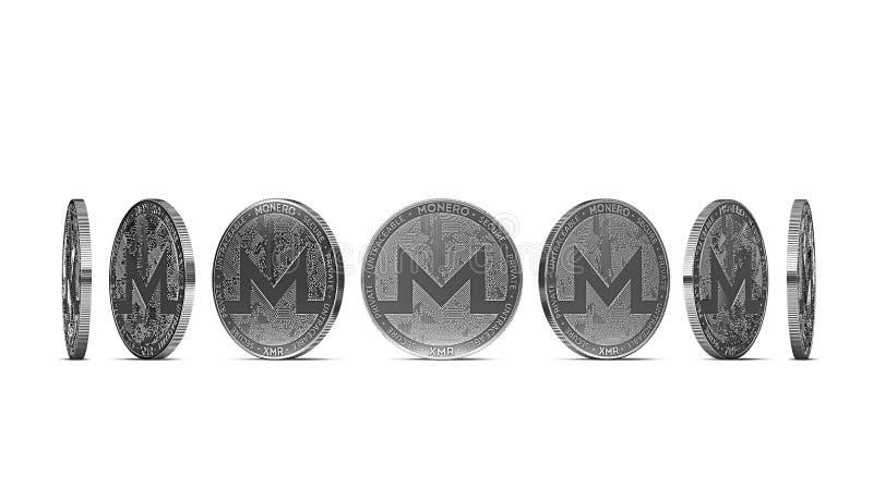从七个角度显示的Monero硬币隔绝在白色背景 容易删去和使用特殊硬币角度 库存例证