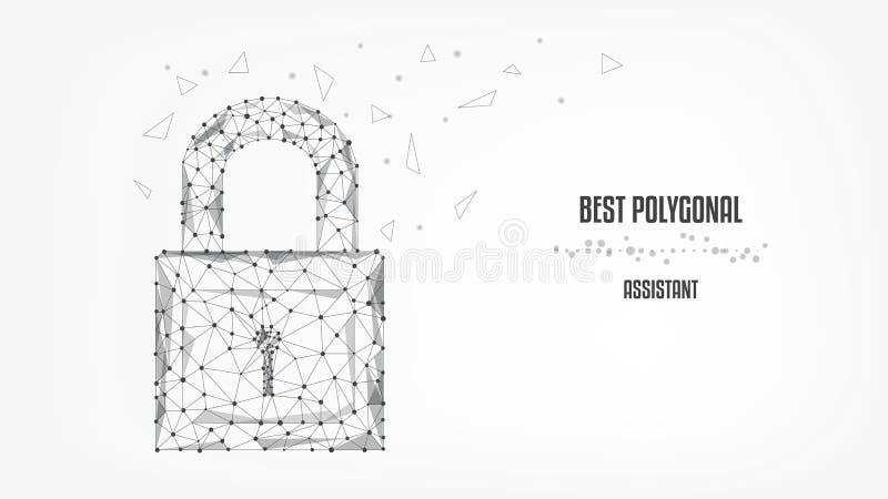 从三角和光亮点的闭合的锁在白色背景 保护概念 信息和数据安全  ?? 向量例证
