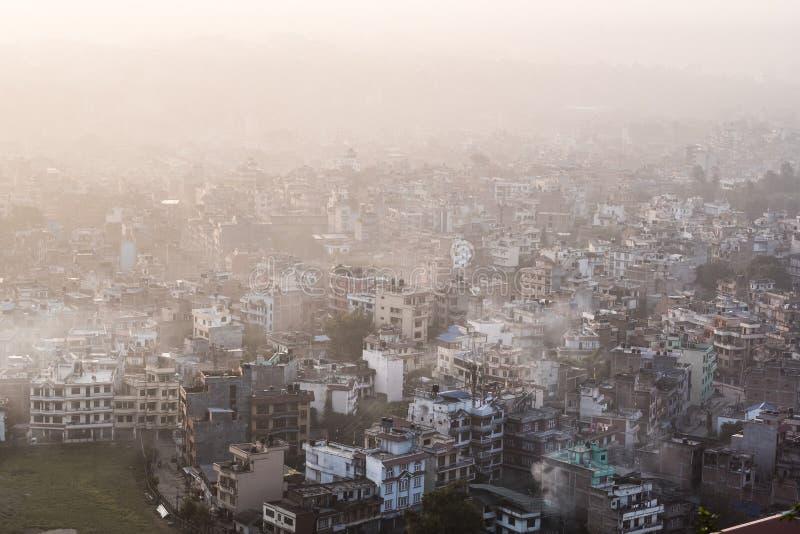 从上面加德满都都市风景,尼泊尔 免版税库存图片