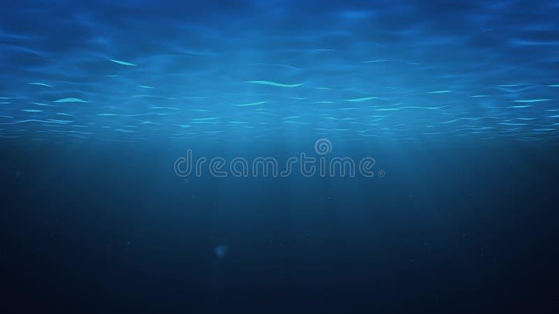 从上面发光的阳光击穿深清楚的大海 太阳光束在水面下 小泡影提高 库存例证