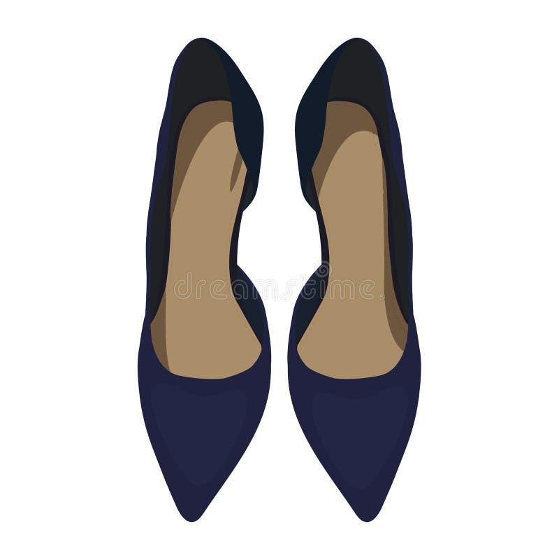 从上面导航妇女` s深蓝鞋子,看法 库存图片