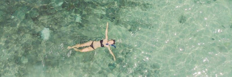 从上面潜航,女孩在清楚的热带海水的snorkeler游泳与珊瑚在期间的妇女空中顶视图 库存照片
