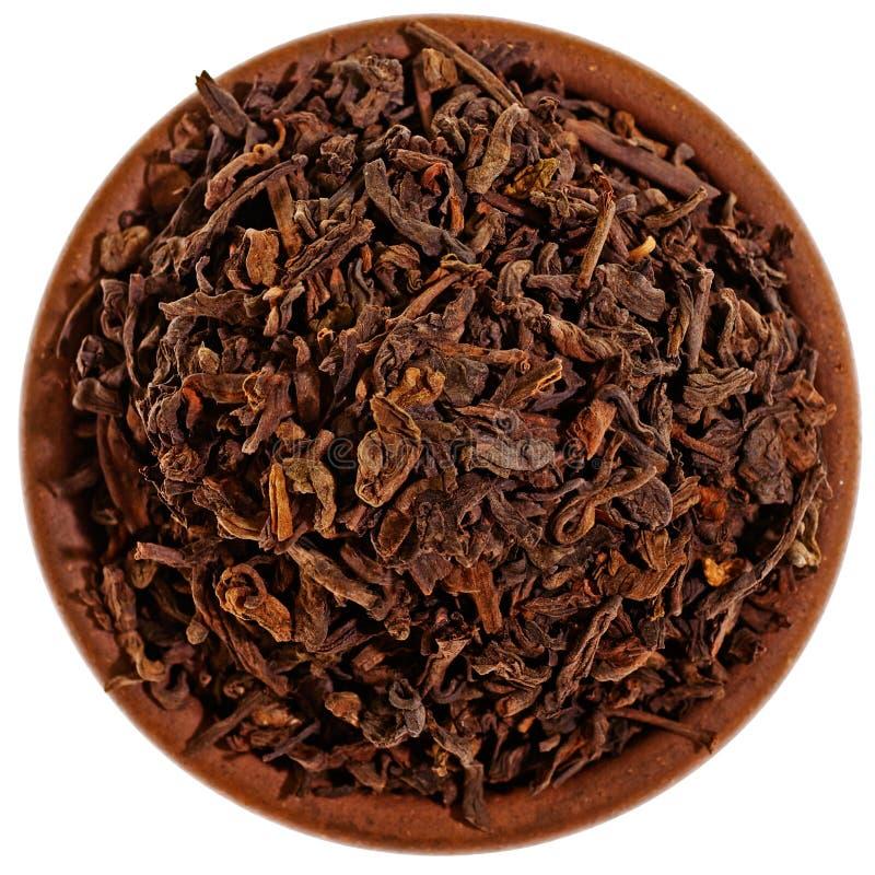 从上面烘干在黏土杯子的红茶