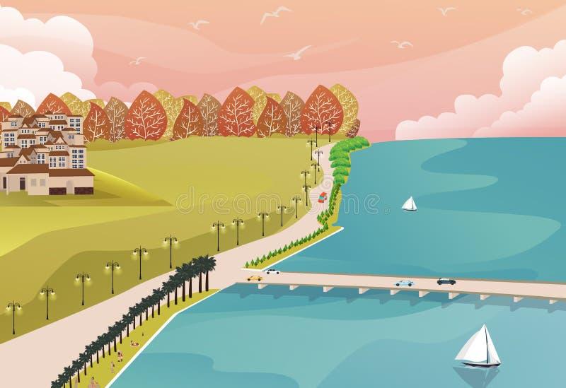 从上面的海边景色与草森林和大房子一边和长的桥梁路的 库存例证
