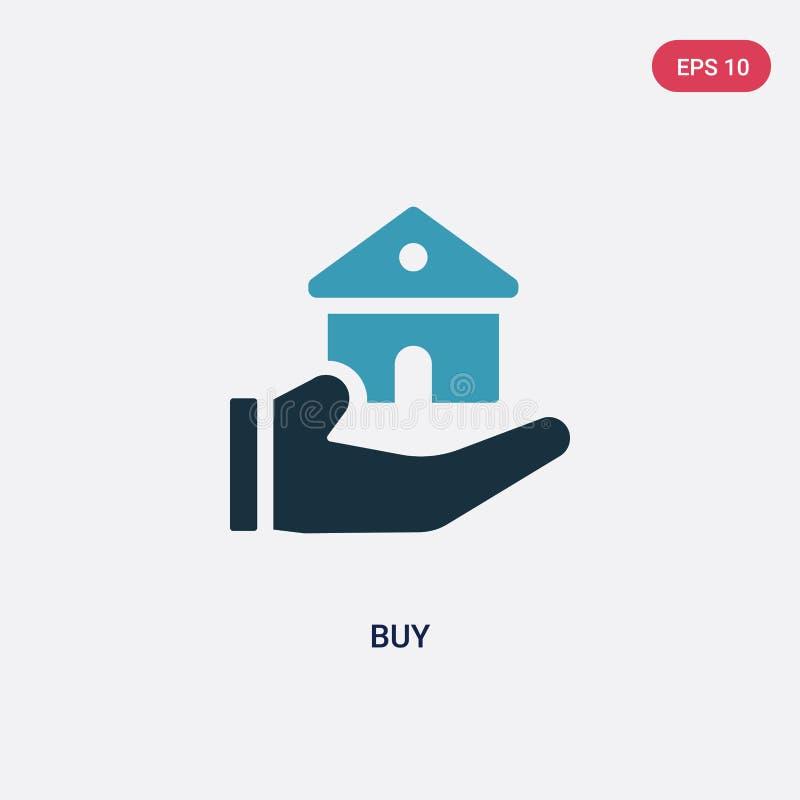 从不动产概念的两种颜色的购买传染媒介象 被隔绝的蓝色购买传染媒介标志标志可以是网、机动性和商标的用途 EPS 向量例证