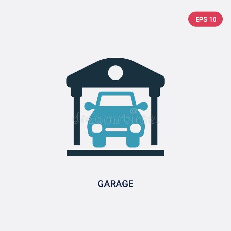 从不动产概念的两种颜色的车库传染媒介象 被隔绝的蓝色车库传染媒介标志标志可以是网、机动性和商标的用途 向量例证