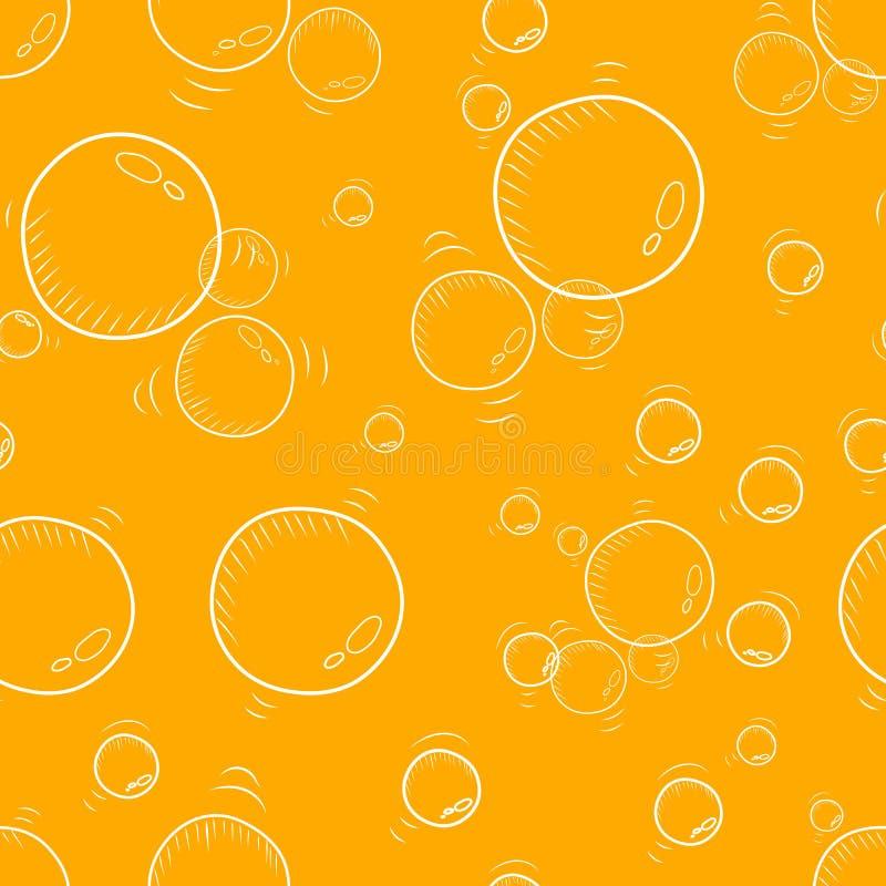 从不同的大小的泡影的无缝的重复的背景 库存例证