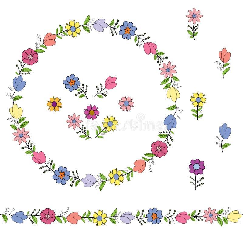 从不同的春天花的五颜六色的花圈 不尽的水平的刷子 无缝的水平的边界 库存例证
