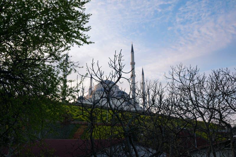 从不同的角度的Camlica清真寺 2019年3月29日拍的照片,伊斯坦布尔,土耳其 图库摄影
