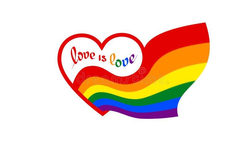 从与文本的心脏爱是爱来彩虹旗子-自豪感lgbt,lgbtq的标志 来LGBT象,T恤杉传染媒介设计 皇族释放例证