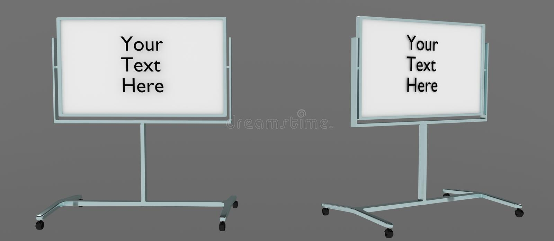 从两个角度的常设whiteboard与`对此写的您的这里文本`,容易编辑 被回报的3D,隔绝在灰色背景中 向量例证