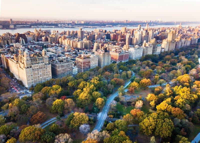 从中央公园的纽约全景,鸟瞰图 图库摄影