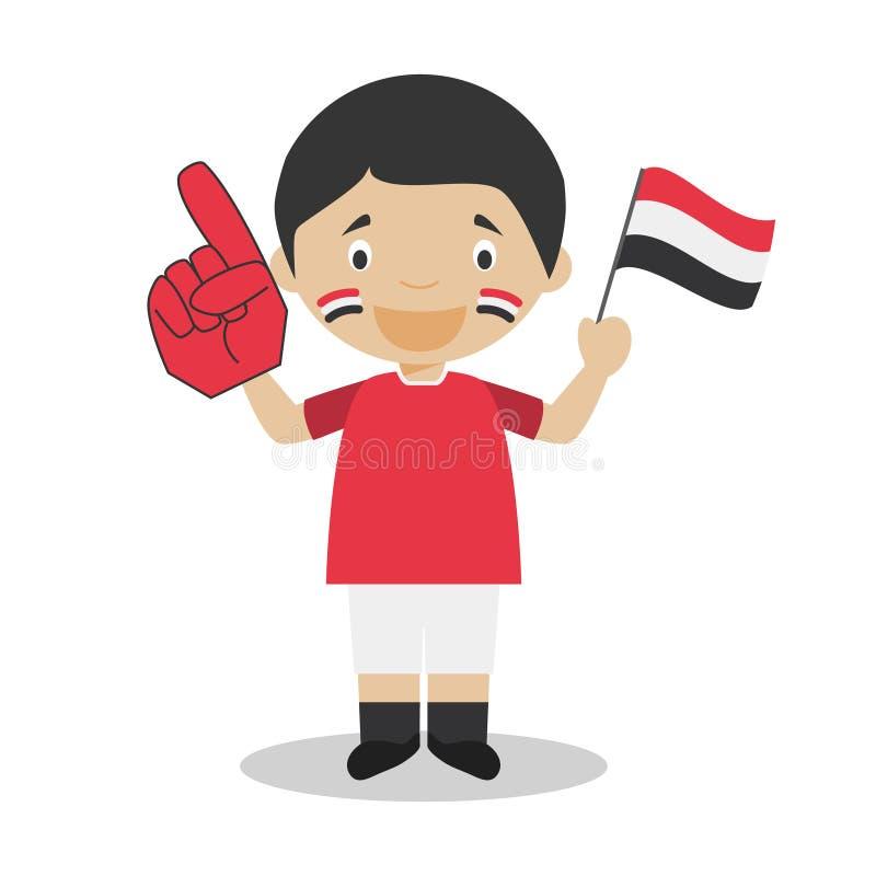 从也门的全国体育队爱好者有旗子和手套传染媒介例证的 库存例证