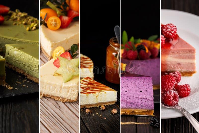 从乳酪蛋糕照片的拼贴画  库存图片