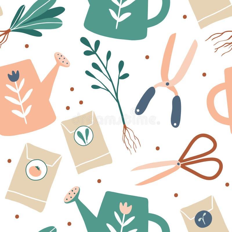 从事园艺的例证模式无缝的春天向量工作 逗人喜爱的庭院工作手拉的元素 园艺工具:手套,种子,喷壶 背景为 皇族释放例证