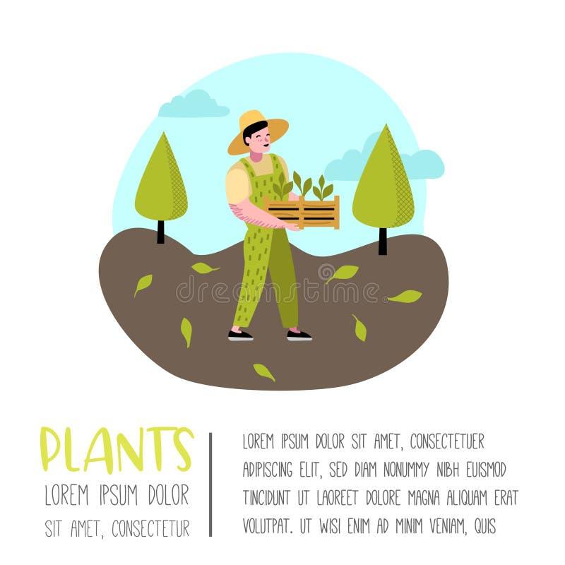 从事园艺的动画片海报 与植物和树的滑稽的简单的字符 人花匠 库存例证