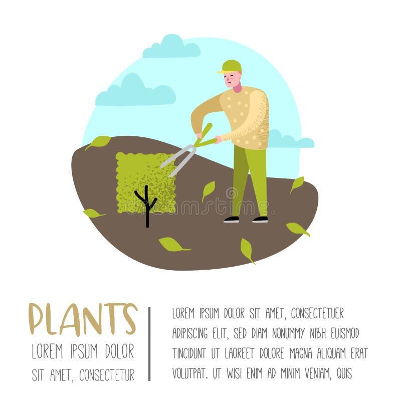 从事园艺的动画片海报 与植物和树的滑稽的简单的字符 人花匠 皇族释放例证