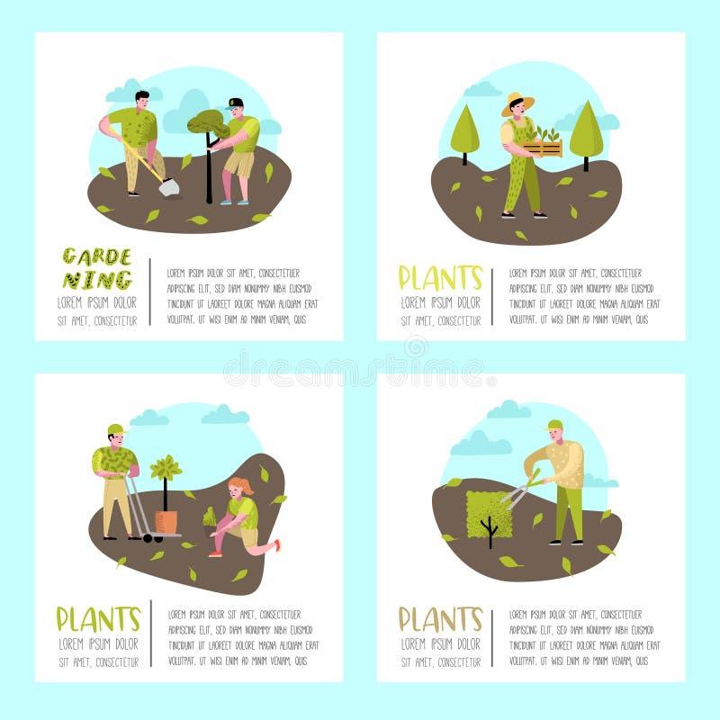 从事园艺的动画片海报 与植物和树的滑稽的简单的字符 男人和妇女花匠 向量例证