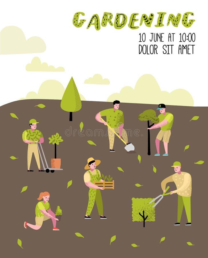 从事园艺的动画片海报 与植物和树的滑稽的简单的字符 男人和妇女花匠 库存例证