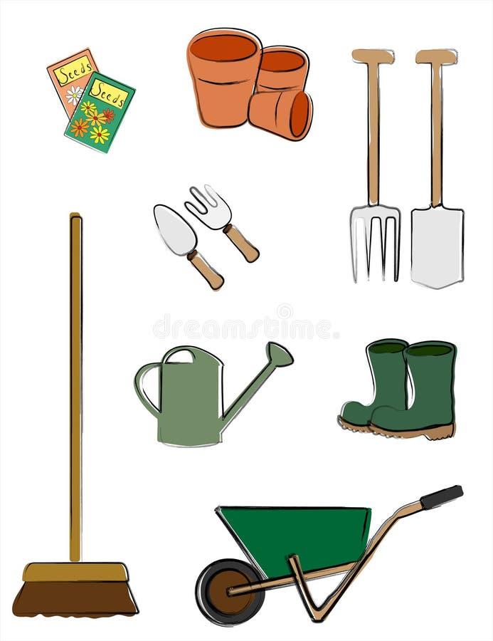 从事园艺的查出的工具 皇族释放例证