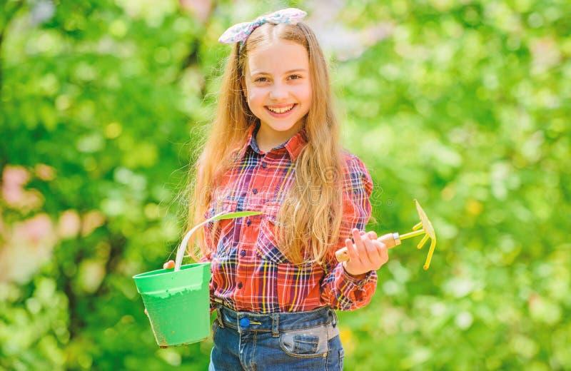 从事园艺的类 生态教育 种植植物的女孩 r 庭院关心 儿童可爱的孩子举行 图库摄影