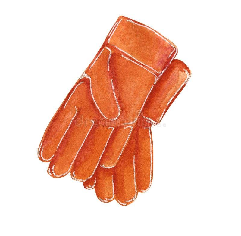 从事园艺的,手拉的水彩例证红色橡胶手套 向量例证
