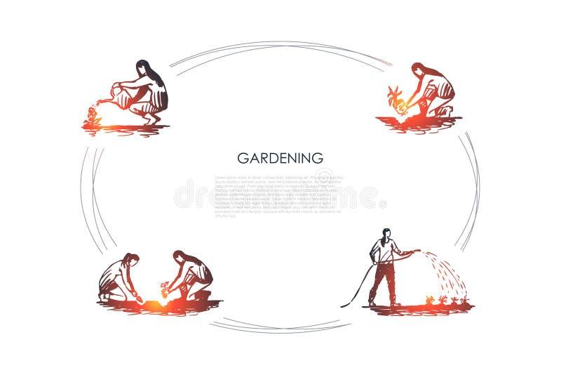 从事园艺-人开掘的地面,种植的和浇灌的花导航概念集合 向量例证