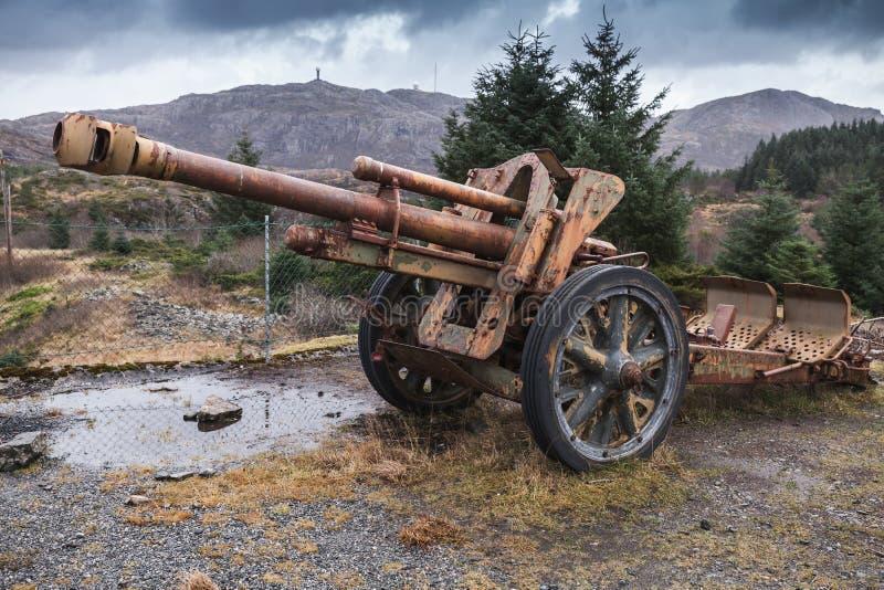 从二战的老生锈的德国大炮 图库摄影