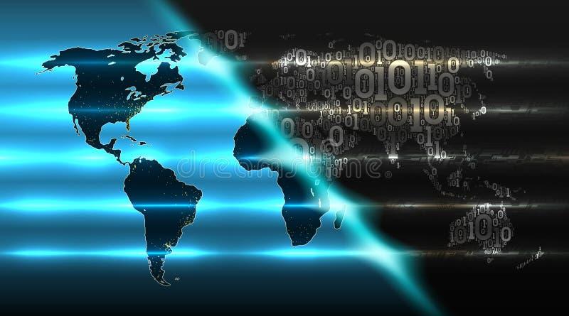 从二进制编码的世界地图有抽象电子背景  云彩服务,iot,ai,大数据,传染媒介的概念 向量例证