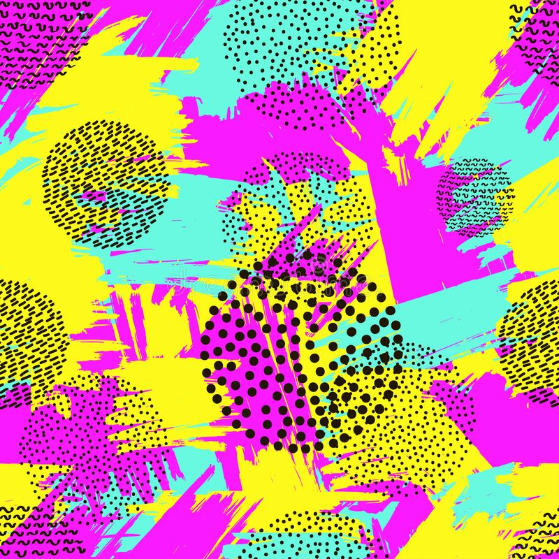 从五颜六色的刷子冲程和bla的明亮的无缝的样式 皇族释放例证