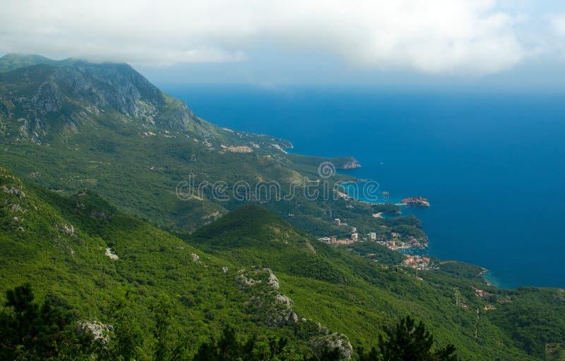 从亚得里亚海和布德瓦里维埃拉,Monte山的顶视图  库存图片