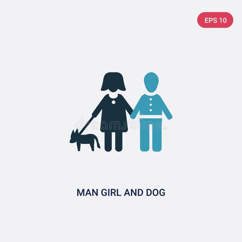 从人概念的两种颜色的人女孩和狗传染媒介象 被隔绝的蓝色人女孩和狗传染媒介标志标志可以是网的用途, 向量例证