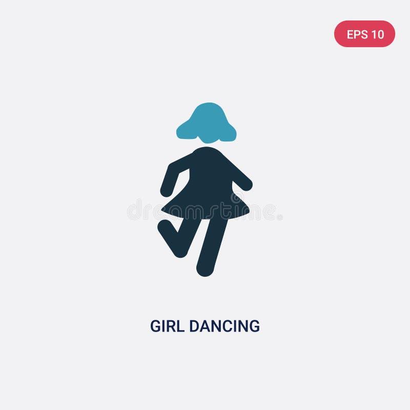 从人概念的两种颜色的女孩跳舞传染媒介象 被隔绝的蓝色女孩跳舞传染媒介标志标志可以是网的,机动性用途 库存例证