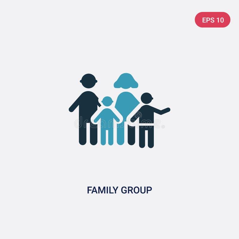 从人概念的两种颜色的家庭小组传染媒介象 被隔绝的蓝色家庭小组传染媒介标志标志可以是网的,机动性用途 向量例证