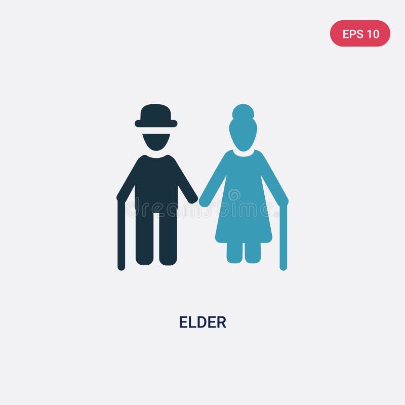 从人概念的两种颜色的更旧的传染媒介象 被隔绝的蓝色长辈传染媒介标志标志可以是网、机动性和商标的用途 EPS 皇族释放例证