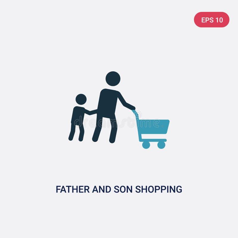 从人概念的两种颜色的父亲和儿子购物的传染媒介象 被隔绝的蓝色父亲和儿子购物的传染媒介标志标志可以是 库存例证