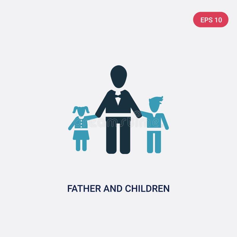 从人概念的两种颜色的父亲和儿童传染媒介象 被隔绝的蓝色父亲和儿童传染媒介标志标志可以是用途为 皇族释放例证