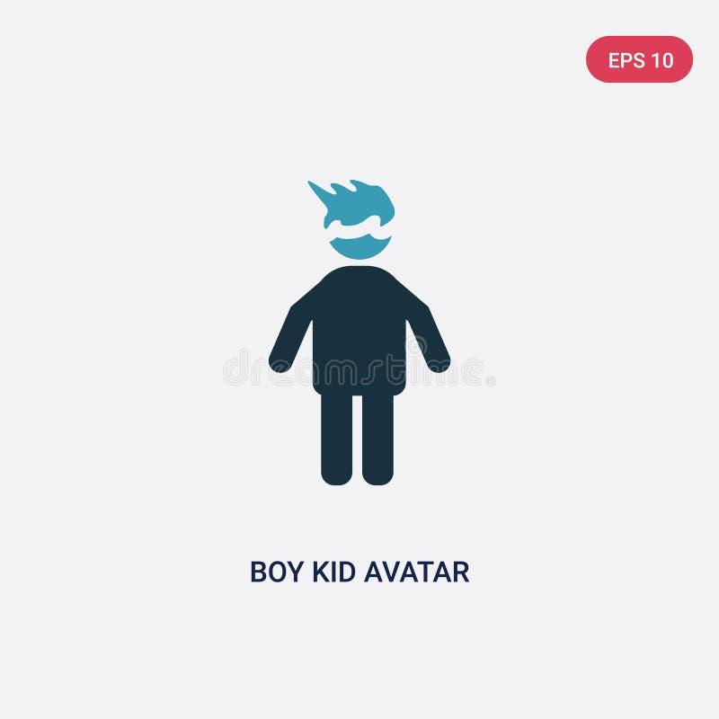 从人概念的两种颜色的男孩孩子具体化传染媒介象 被隔绝的穿蓝衣的男孩孩子具体化传染媒介标志标志可以是网的用途, 皇族释放例证