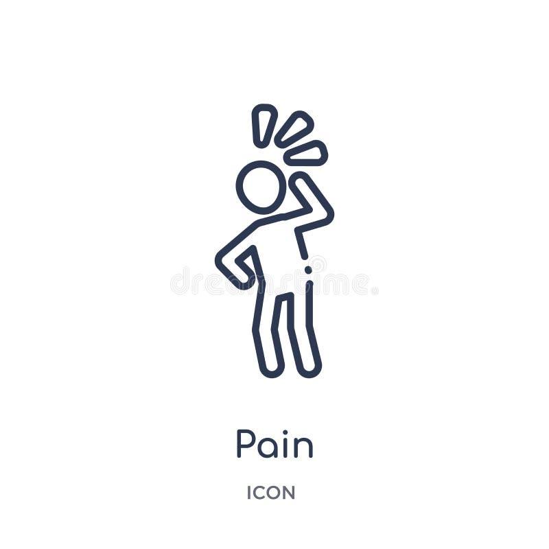 从人概述汇集的线性痛苦象 稀薄的线在白色背景隔绝的痛苦象 痛苦时髦例证 皇族释放例证