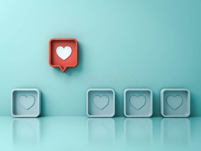 从人群和不同的创造性的想法概念引人注意象心脏别针象的一红色3d社会媒介通知爱 皇族释放例证