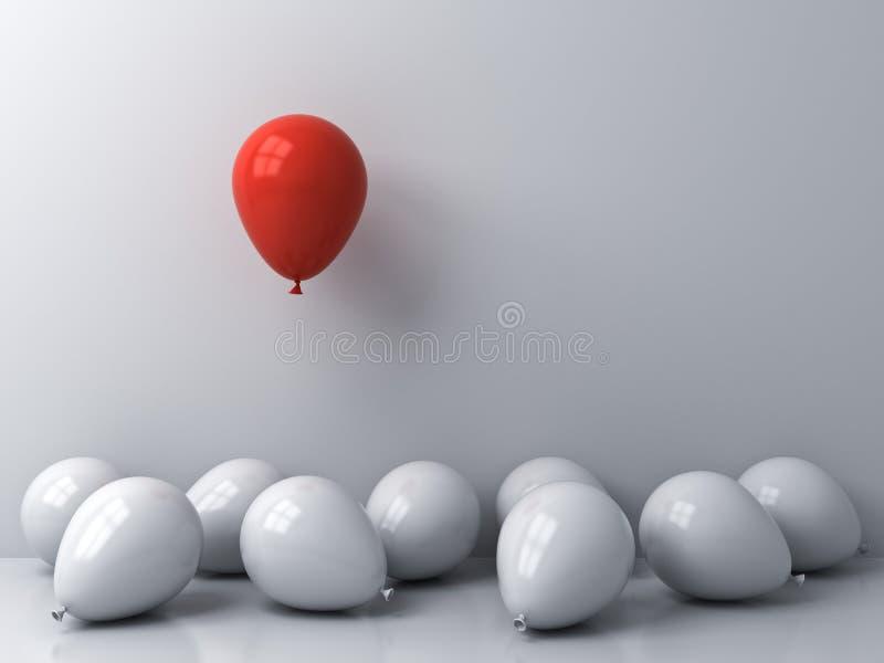 从人群和不同的概念引人注意漂浮在白色墙壁背景的其他白色气球上的一个红色气球 皇族释放例证