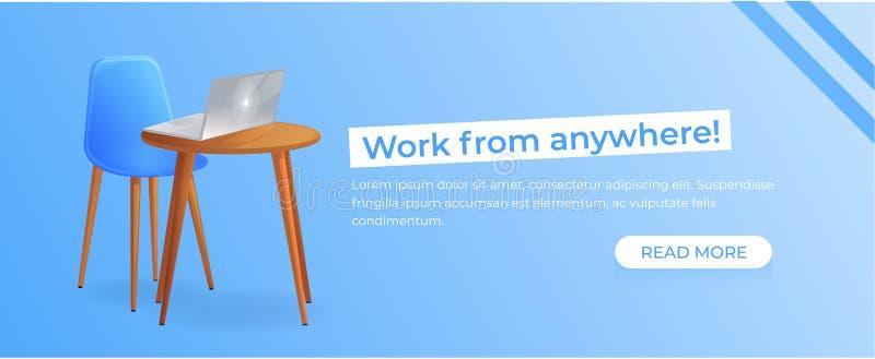 从任何地方自由职业者的横幅的工作 有桌的工作场所和膝上型计算机和咖啡 现代办公家具设计 向量例证