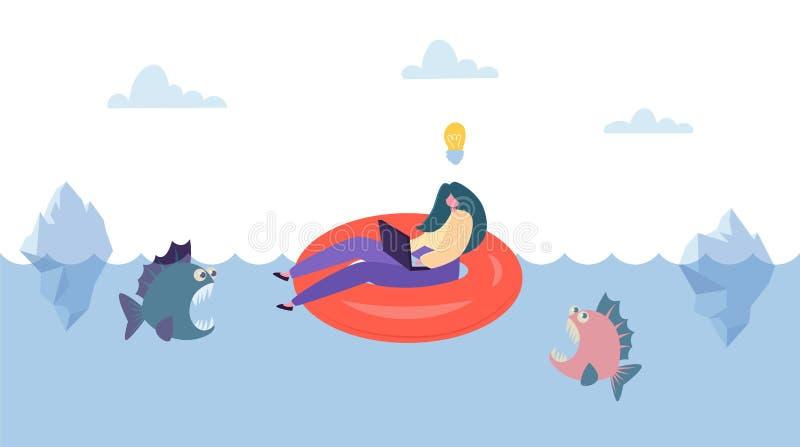 从企业竞争的创造性的想法救球 女实业家在内胎的字符游泳在危险鱼上 无所畏惧 向量例证