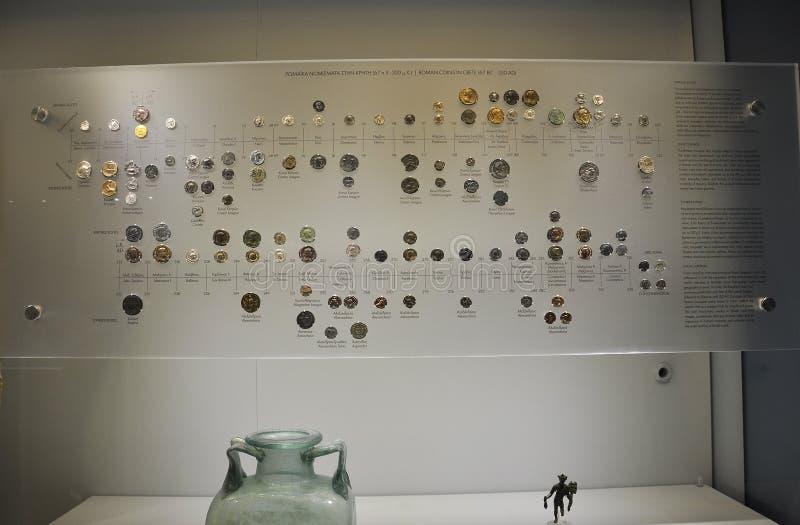 从伊拉克利翁的米诺考古学博物馆内部在克利特海岛 免版税库存照片