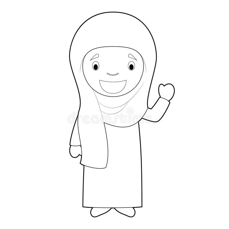 从伊朗的容易的上色妇女卡通人物穿戴了用与chador的传统方式 r 库存例证