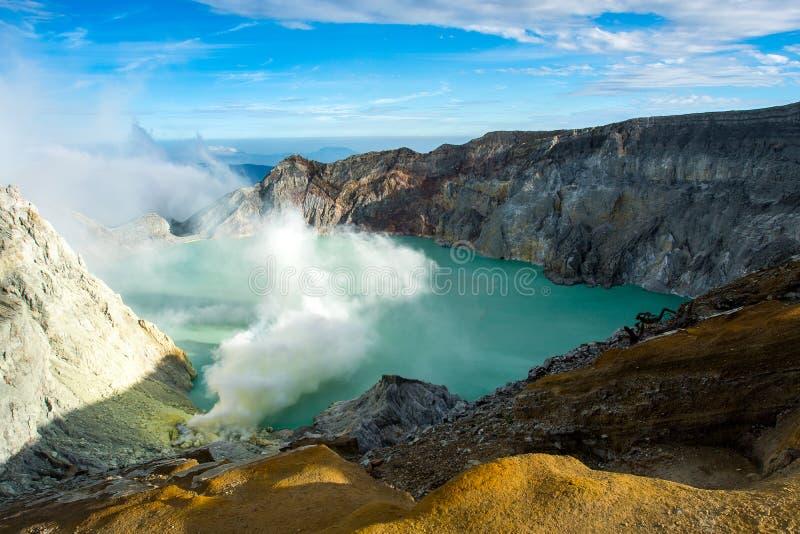 从伊真火山火山口,在Kawah伊真火山, Vocalno的硫磺发烟的看法在Indenesia 免版税库存照片