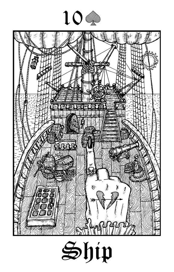 ? 从传染媒介Lenormand哥特式奥秘oracle甲板的占卜用的纸牌 库存例证