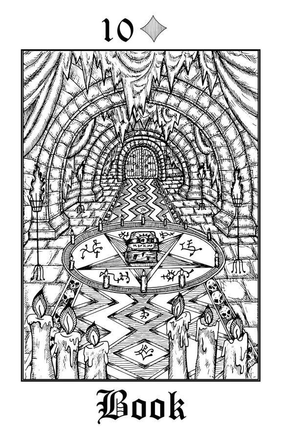 ? 从传染媒介Lenormand哥特式奥秘oracle甲板的占卜用的纸牌 向量例证